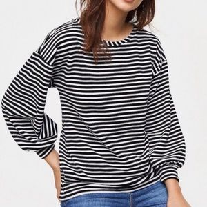 Loft Black & White Striped Velvet Top